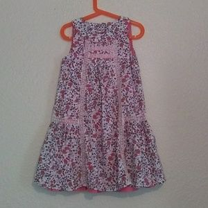 Floral Print Girl's Sleeveless Dress w Lace Insets